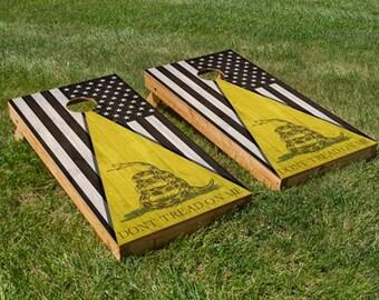 Don't Tread On Me / Black American Flag Cornhole Board Set