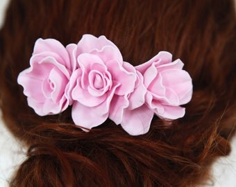 Pink Floral Bridal Comb, Freshwater Wedding Comb, Rhinestone Wedding Headpiece, Floral Bridal Headpiece, Flower Comb for Bride