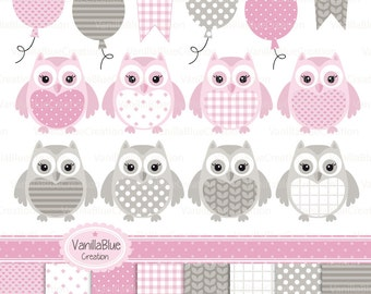 Owl clipart, owl vector, owl baby, birthday invitation, birth announcement, digital paper and vector