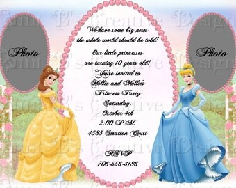 Belle and Cinderella  Photo Birthday Invitation, Disney Inspired Princess Invitation, Disney Princess Birthday Invitation