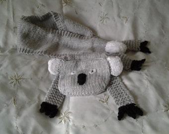 Hand knitted novelty koala scarf