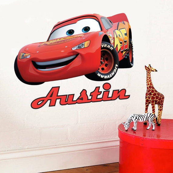 Full colour personalised disney cars lightning mcqueen for Disney cars wall mural full wall huge