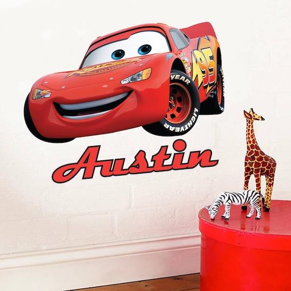 Full colour personalised disney cars lightning mcqueen for Disney cars wall mural full wall huge