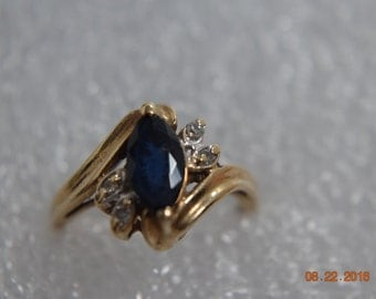 10 K Gold Ring with Blue Sapphire, Diamond Chips,  Pinky Ring