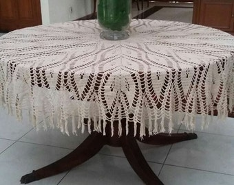 Crochet Round Tablecloth 53""