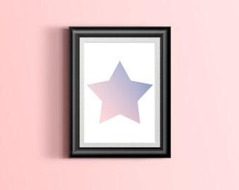 Star Print, Star poster, Star Wall Art, Star digital print, Star wall decor Star rose quarts serenity wall art digital print JPG