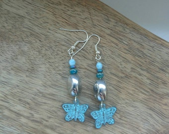 Patina Butterfly Charm Earrings with Hematite