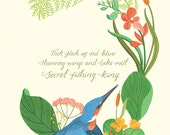 Kingfisher - art print - A4 size. Part of Feathers & Fur illustrated poetry series. Words by Emily Koch, illustration by Dawn Cooper