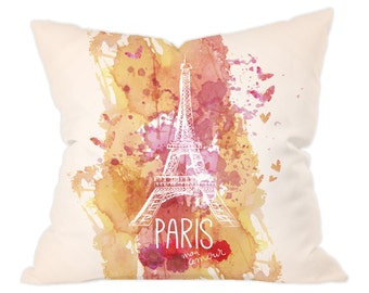 Pretty Eiffel Tower Artistic Design Cushion Cover and Insert 40x40cm, Great Gift for Paris Lovers!