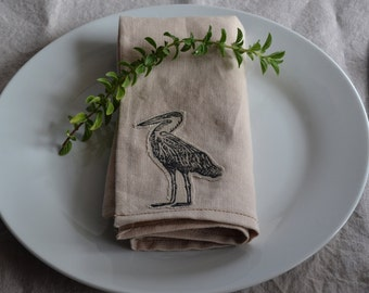 Linen Napkin with Heron -- Set of 4