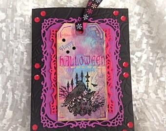 Halloween Card, Happy Halloween, Greeting Card, Vintage, Luxury Greeting Card, Fancy Card, Filigree Card, Handmade Card, Halloween Art
