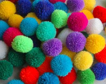 100 PCS x Medium Pom Poms Handmade Craft Supply in Mixed Colors
