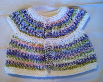 Baby Sweater - Sugar Plum/Green/Pink trimmed in white with frosted white buttons