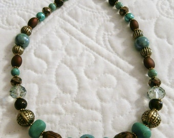 "17.25"" Turquoise, Antique Brass and Chocolate Brown Necklace"
