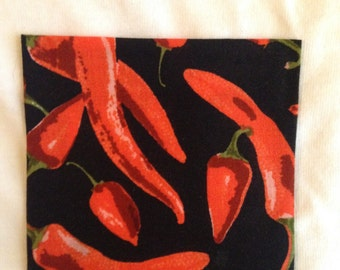 Chili Pepper Print Short Sleeve Crew Neck Pocket T-Shirt