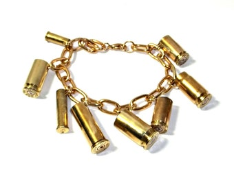 Bullet Jewelry- Charm Bracelet With Mixed Caliber Bullet Casings