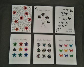 6 x Handmade Birthday cards
