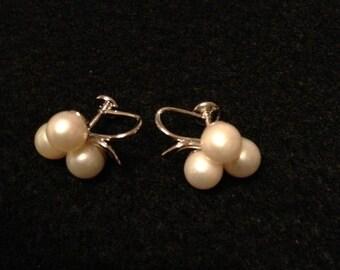 Vintage Three Pearl Earrings