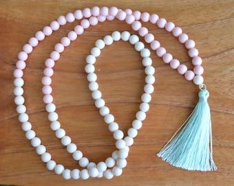 Ivory & Blush Beaded Necklace W/ Mint Silk Tassel