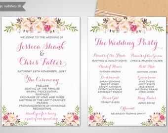 Wedding Program Template Printable Floral Pink
