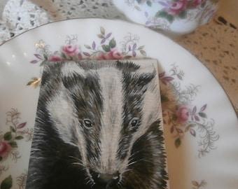 Beautiful Badger aceo original watercolour painting