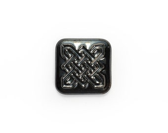 Ceramic Celtic Square Black Metallic Cabochon