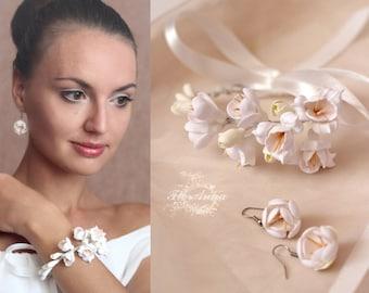 jewellery set, flower set, wedding stuff, bride hairclip, peony earrings, bridesmaids earrings, hair accessories, ivory jewellery