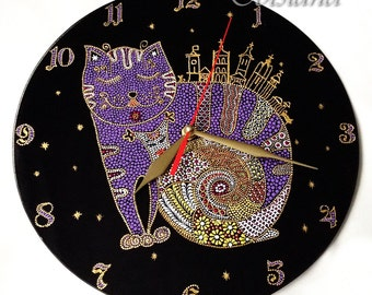 Glass clock, glass painting, glass art, point-to-point, painted glass, painting on glass