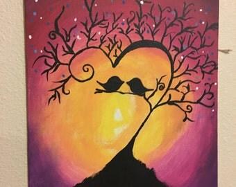 Sunset birds on tree
