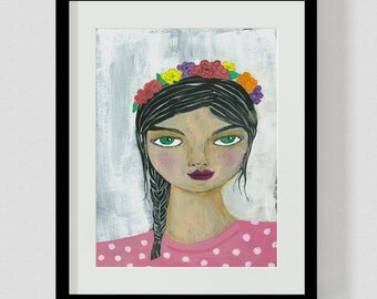 Flower Hair Girl A4 or A3 Print, Plant, Art, Wall Art, Illustration, Painting
