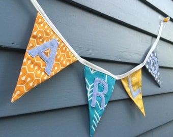 Personalized Bunting / Fabric banner /  Home decor / Custom / Baby shower / Baby gifts / Pennants / Flags / Decorative banner / Kids room