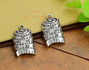 10PCS--25x17mm ,Tape Measure Charms, Antique silver Tape Measure Charm pendant, DIY supplies,Jewelry Making
