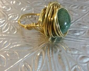 Ring, wire ring, statement ring, boho, gold ring
