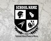 Custom Homeschool Logo - Shield with Name and Motto