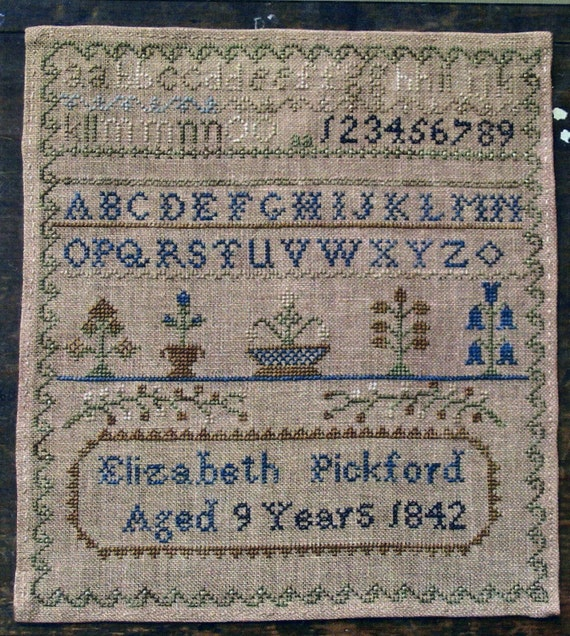 Elizabeth pickford 1842 reproduction sampler by pineberry for J pickford bathrooms