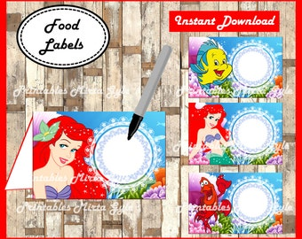 The Little Mermaid Food labels printable Little Mermaid party food tent cards  princess Ariel  sc 1 st  Etsy & Ariel tent cards | Etsy