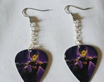 Star wars rebels Sabine guitar pick earrings.