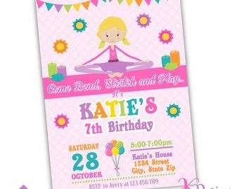Yoga Birthday Invitation, Yoga Party, Yoga Invitation Printable