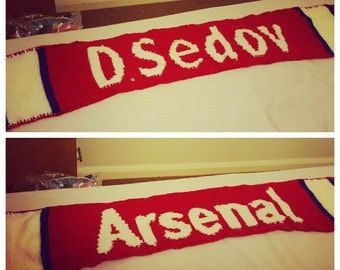 Personal handknitted scarf for Arsenal Supporter