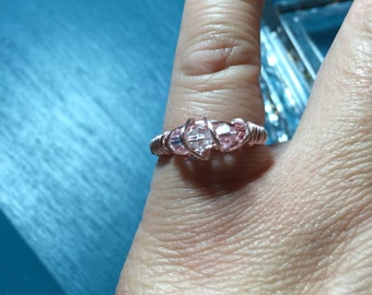Pink gold wire wrapped ring