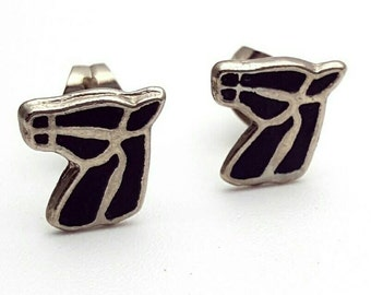 Mini Horse Stud Earrings Vintage from the 90s Tiny Black Stallion Studs Silver Tone