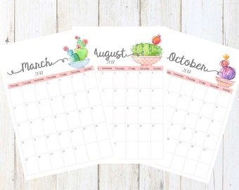 Calendrier Digital 2017,Imprimable,ANGLAIS,Cactus,Aquarelle,Mensuel,A3/A4,Emploi du temps,Anniversaires - ENGLISH Digital Printable Calendar