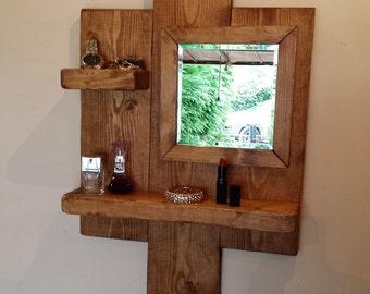 Entery Way Mirror Shelving Unit - Shaving Mirror - Entrey way shelf - Entrey way organizer - 5th anniversary -  bathroom mirror