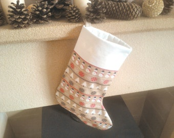Snowman festive Christmas stocking - luxury padded stocking with Egyptian cotton inner