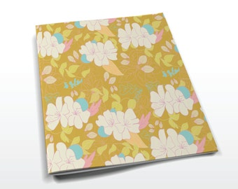 Cute Floral Notebook, A6, sketchbook, sketchpad, pink, turquoise, green
