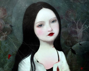 portrait painting, gothic art, archival print, vampire art, dark fairytale, wall art, home decor, vampire painting, gothic painting,