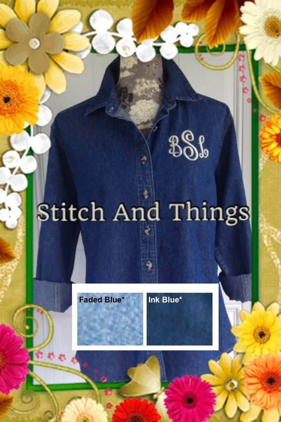 Monogrammed Denim Long Sleeve Shirt