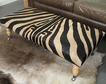 Extra Large Brown Zebra Cowhide Footstool 118. Choice of legs. Real hair on hide cowhide ottoman 102cm x 46cm