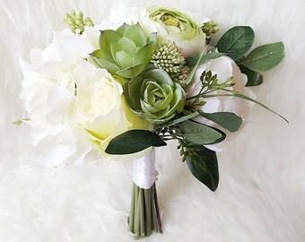 white bridal bouquet,  succulent bouquet, rose bouquet, peony bouquet, wedding bouquet, ranunculus bouquet, hydrangea bouquet, silk bouquet,