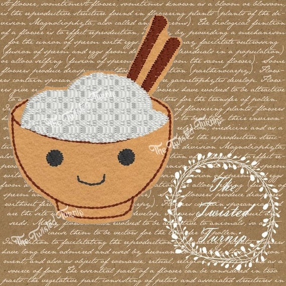 In The Hoop Adorable Bowl Of Rice Food Foodie Kawaii Embroidery Design Feltie Felt Instant Download 4x4